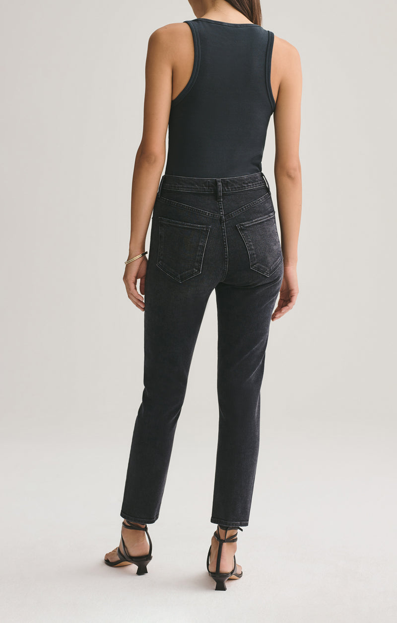 Riley high rise straight crop black pepper back