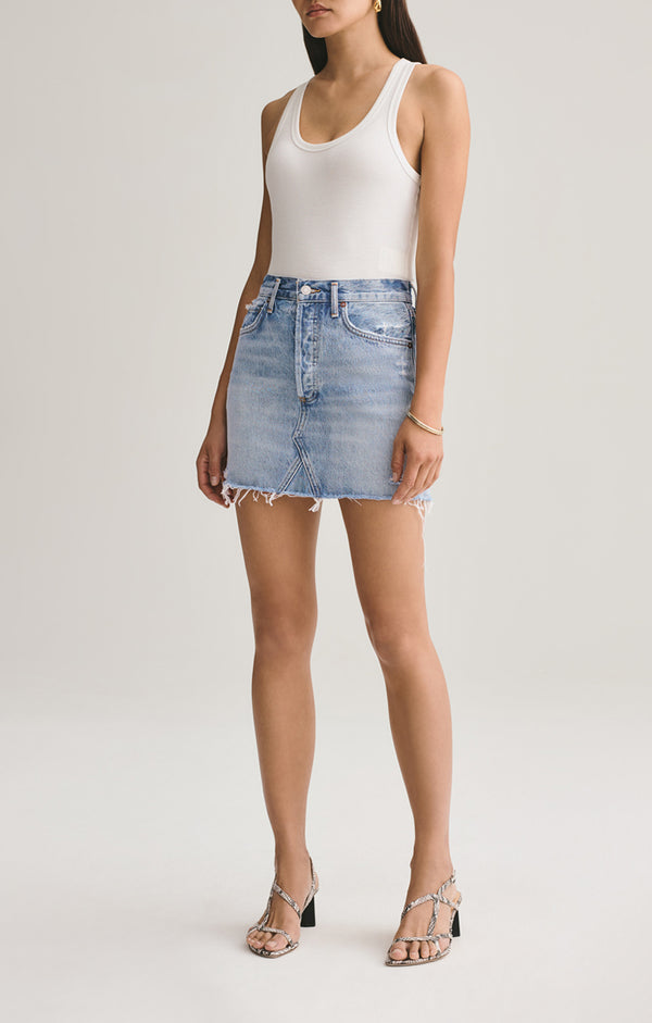 Quinn High Rise Mini Skirt in Swapmeet
