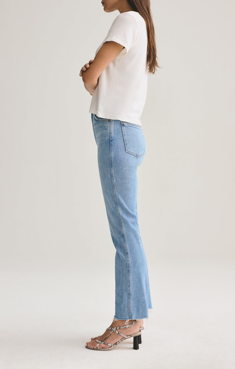 Pinch Waist High Rise Kick w/ Cut Off Hem in Divide
