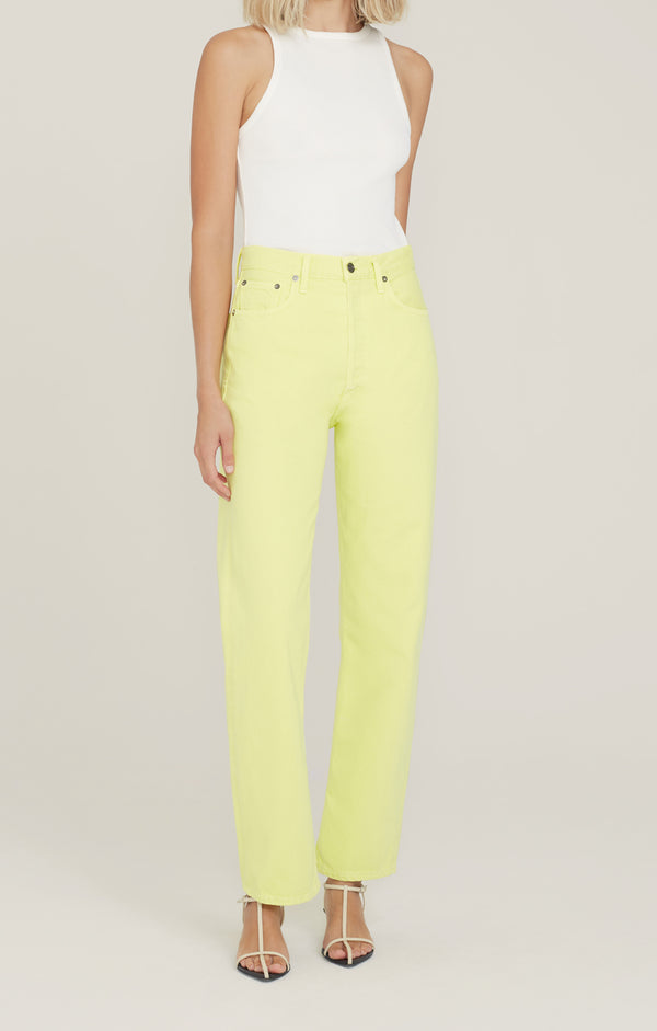 90's Pinch Waist High Rise Straight Limeade front