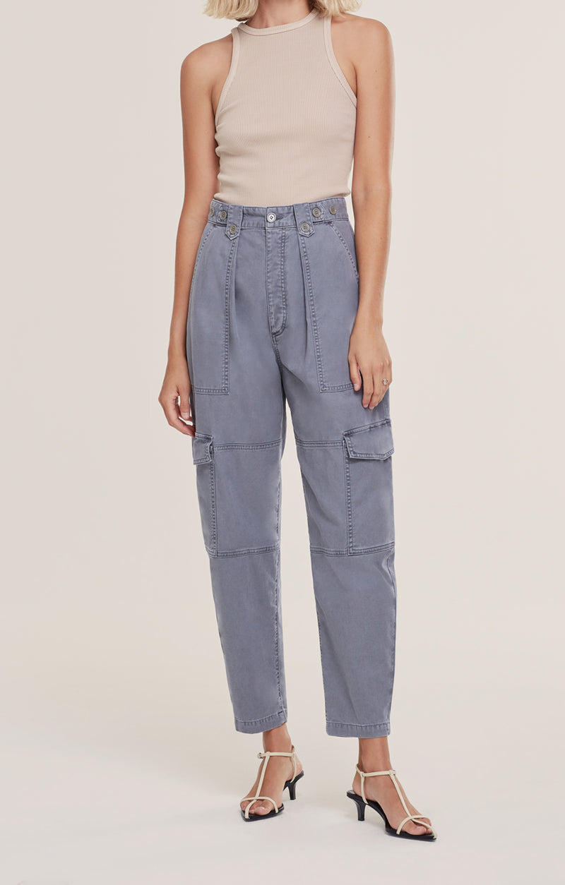 Mila High Rise Utility Tapered Pant Anchovy front