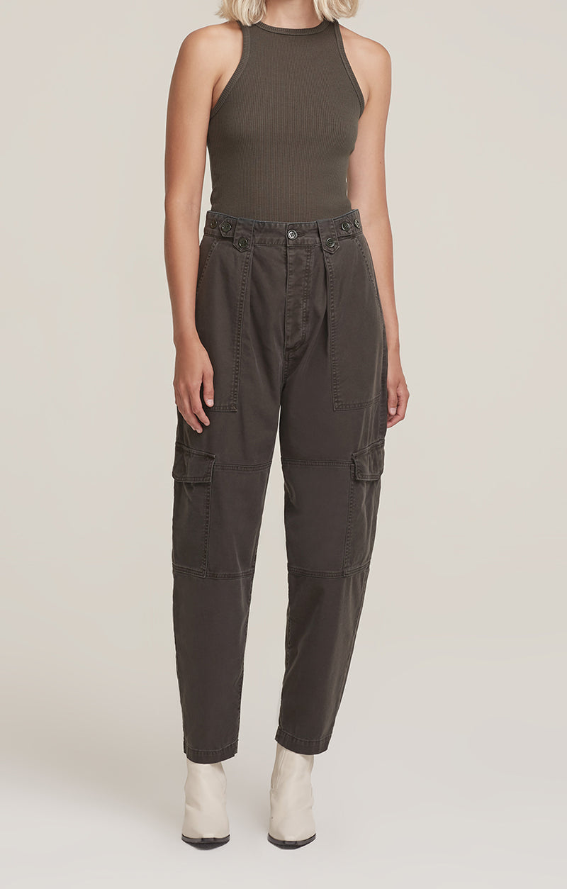 Mila High Rise Utility Tapered Pant Foliage front