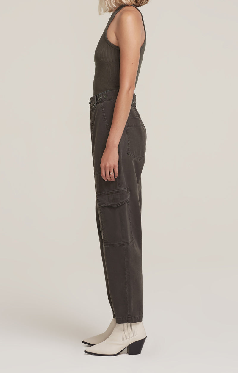 Mila High Rise Utility Tapered Pant Foliage side