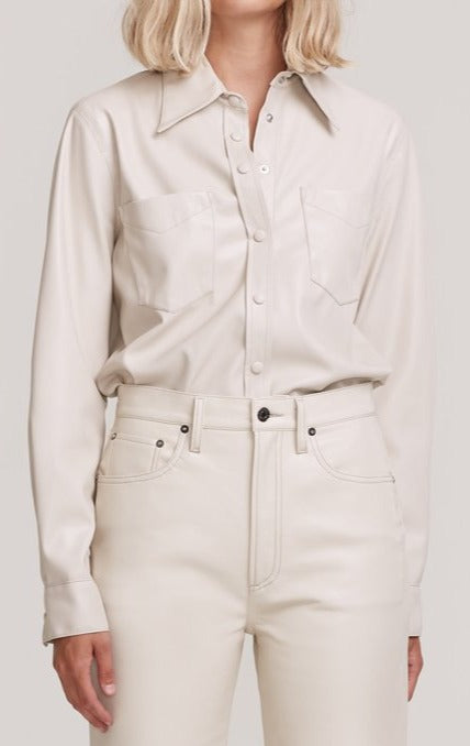 Paloma Vegan Leather Shirt Powder front