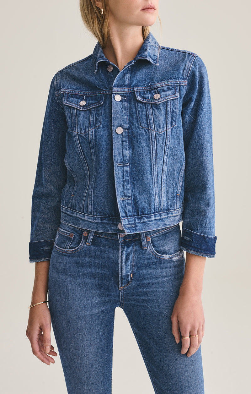 Vivian Shrunken Denim Jacket in Record