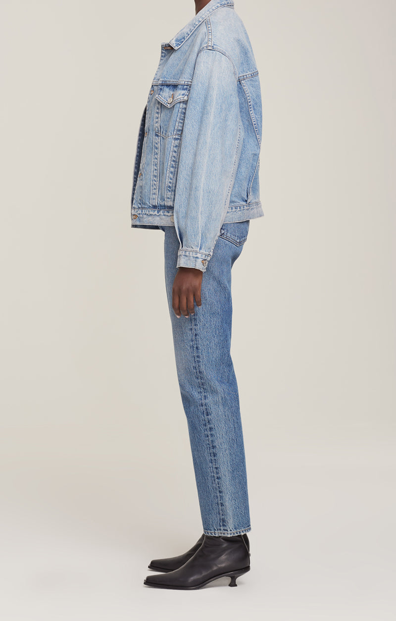 charli oversized denim jacket billboard side