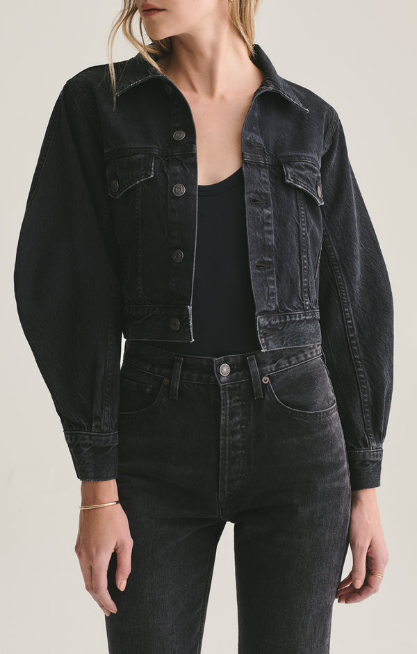 Alik Balloon Sleeve Denim Jacket in Caliber