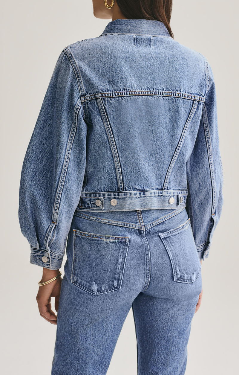 Alik Balloon Sleeve Denim Jacket in Hypnosis