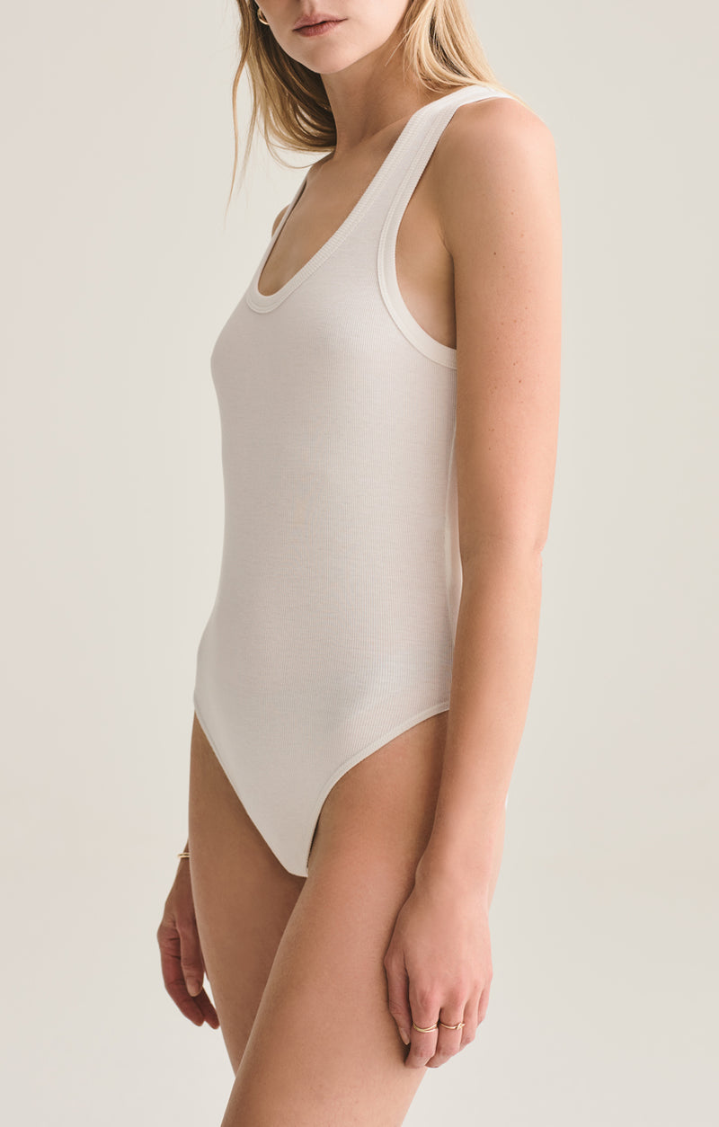 Rib Tank Body Suit in White