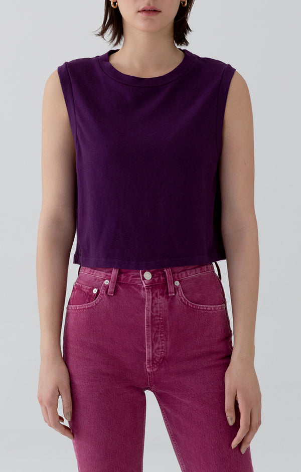 Cropped Muscle Tee in Amethyst