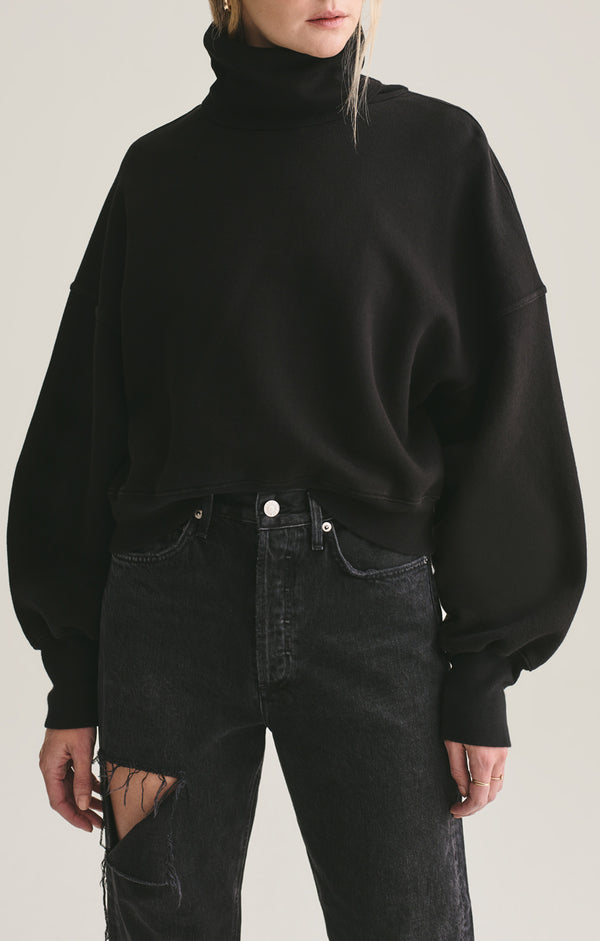 Balloon Sleeve Turtleneck Sweatshirt in Beltway