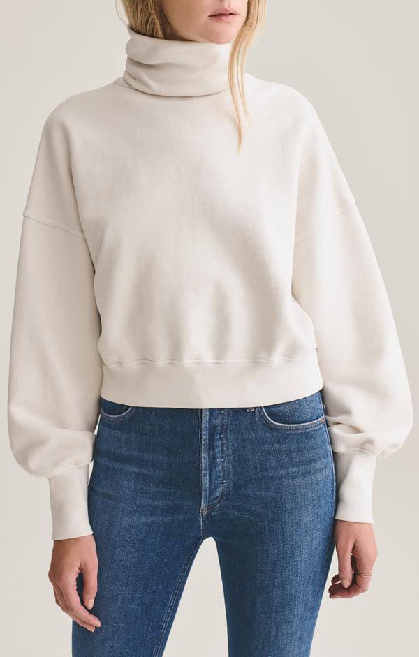 Balloon Sleeve Turtleneck Sweatshirt in Plaster