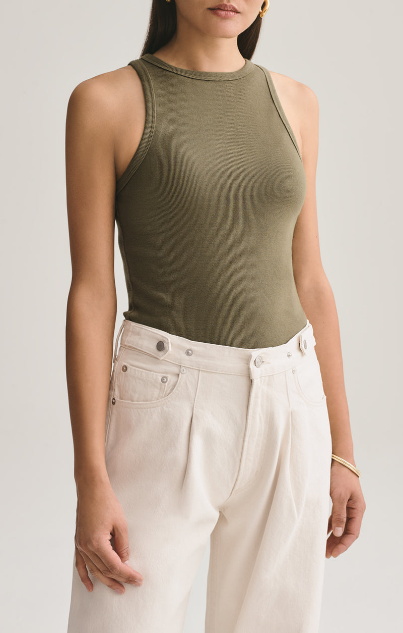 rib high neck tank succulent front
