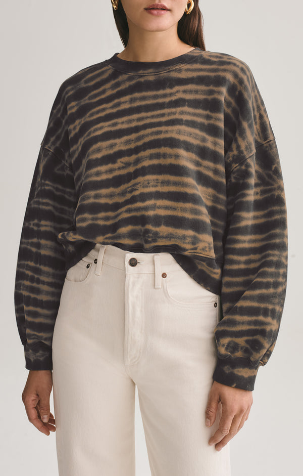 Balloon Sleeve Sweatshirt in Jagged Stripe
