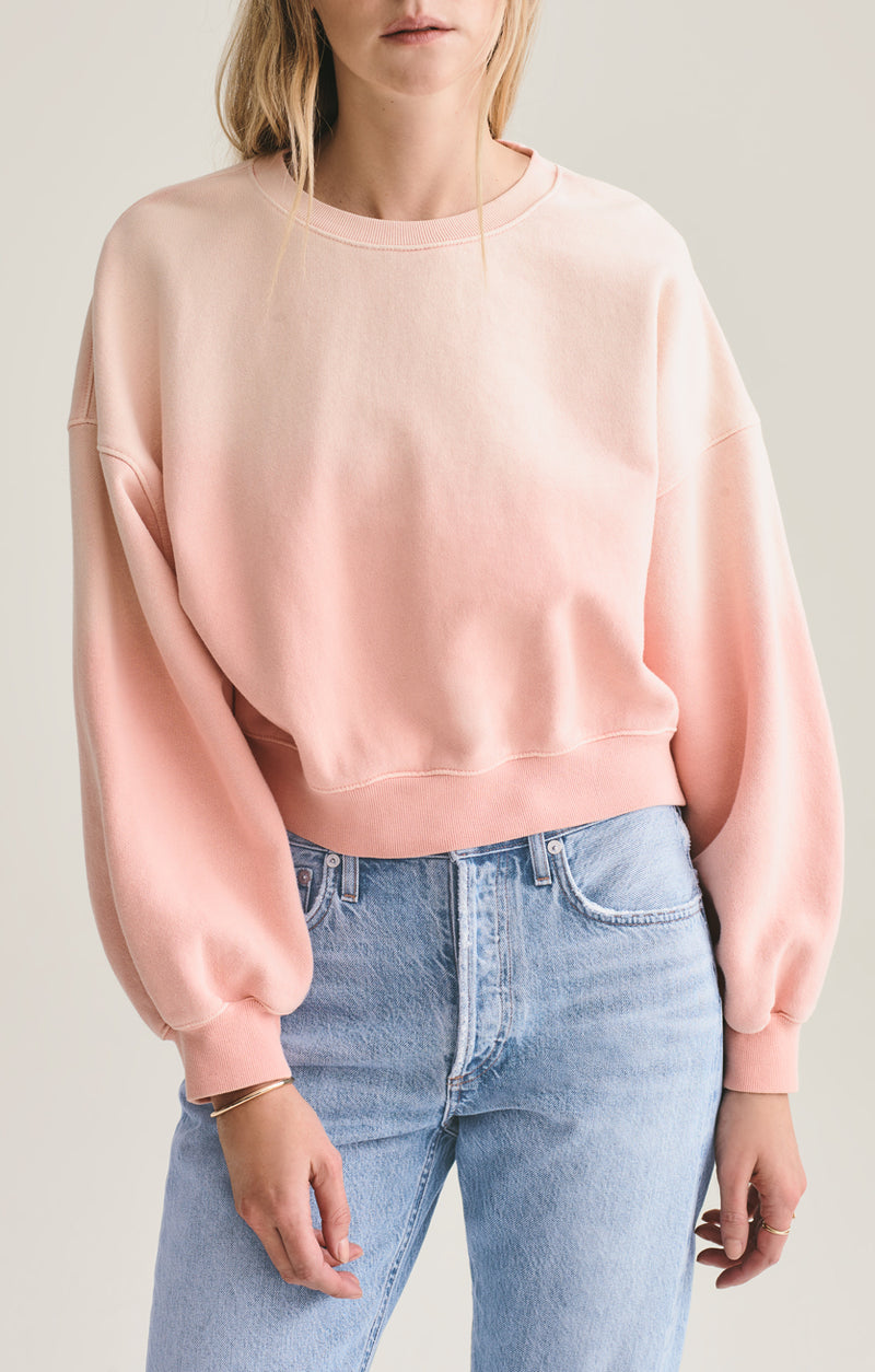 balloon sleeve sweatshirt grapefruit sunfade front