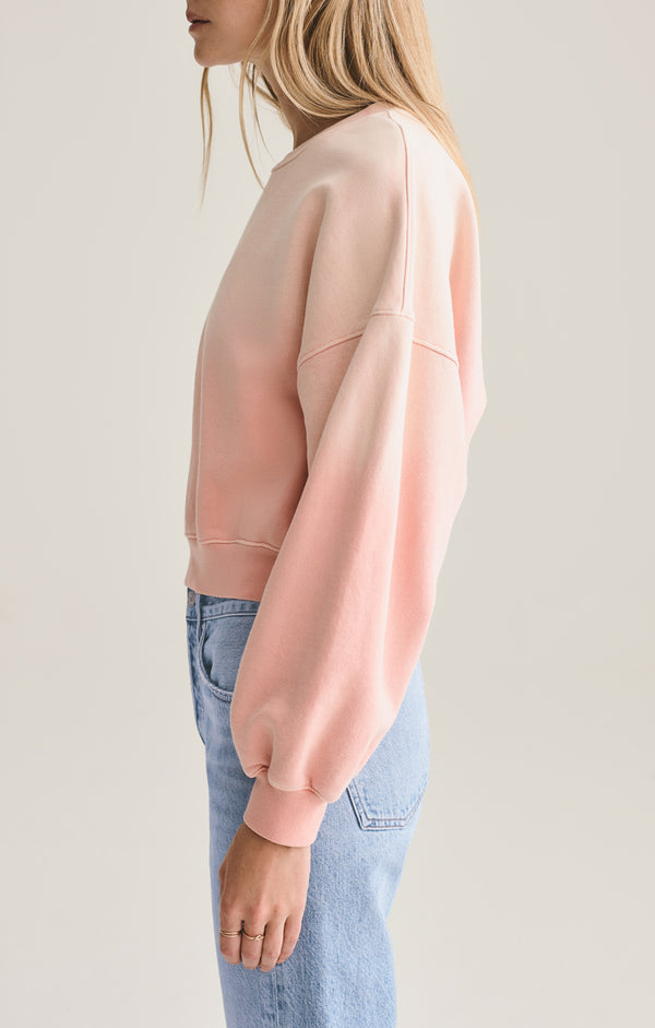 Balloon Sleeve Sweatshirt in Grapefruit Sunfade
