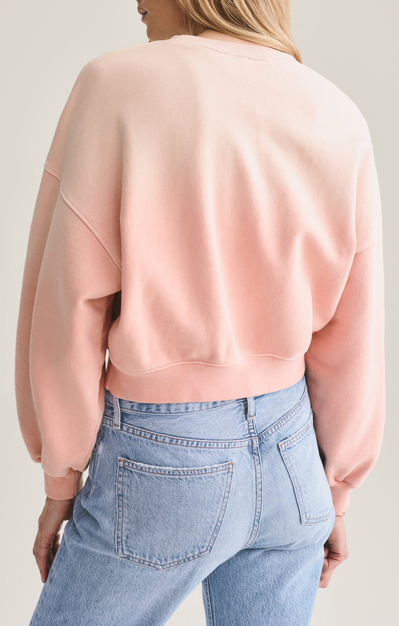 balloon sleeve sweatshirt grapefruit sunfade back