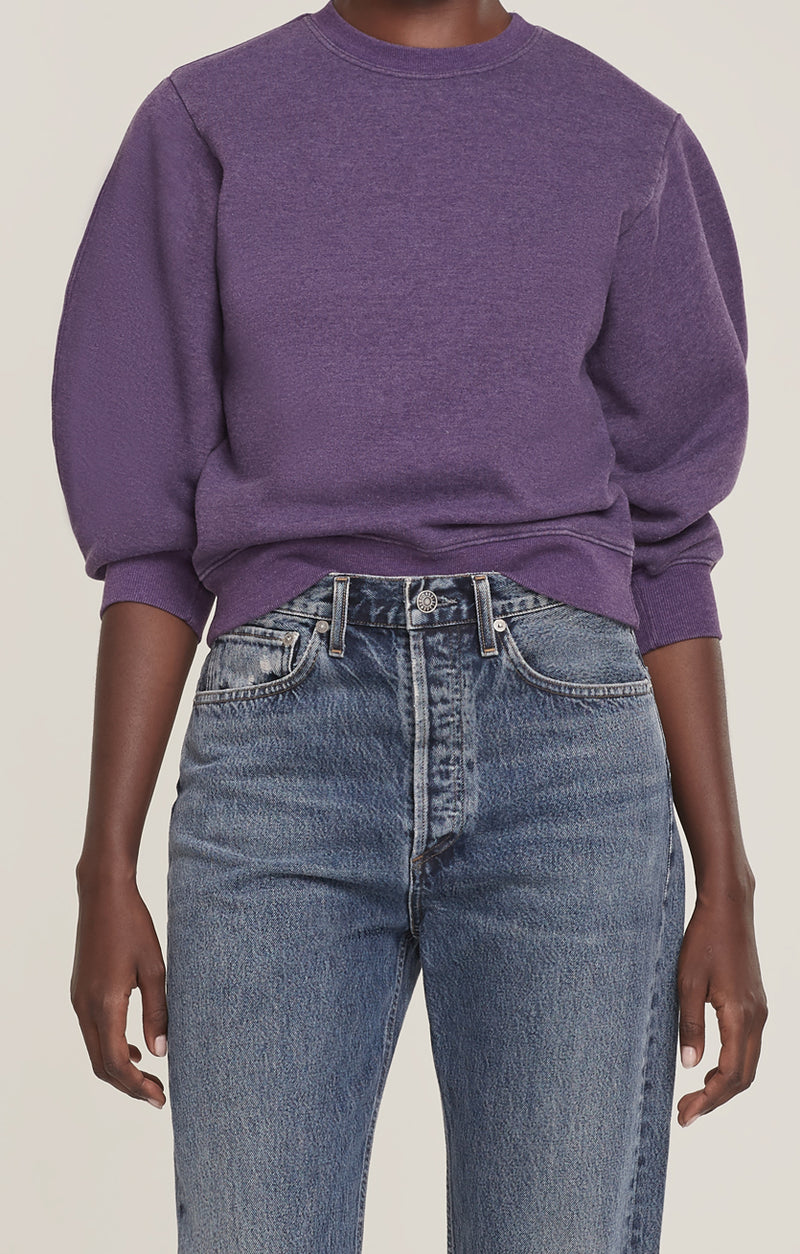 Thora 3/4 Sleeve Sweatshirt Grape Heather front