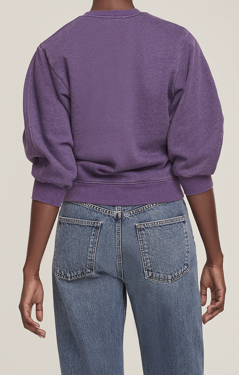 Thora 3/4 Sleeve Sweatshirt Grape Heather back