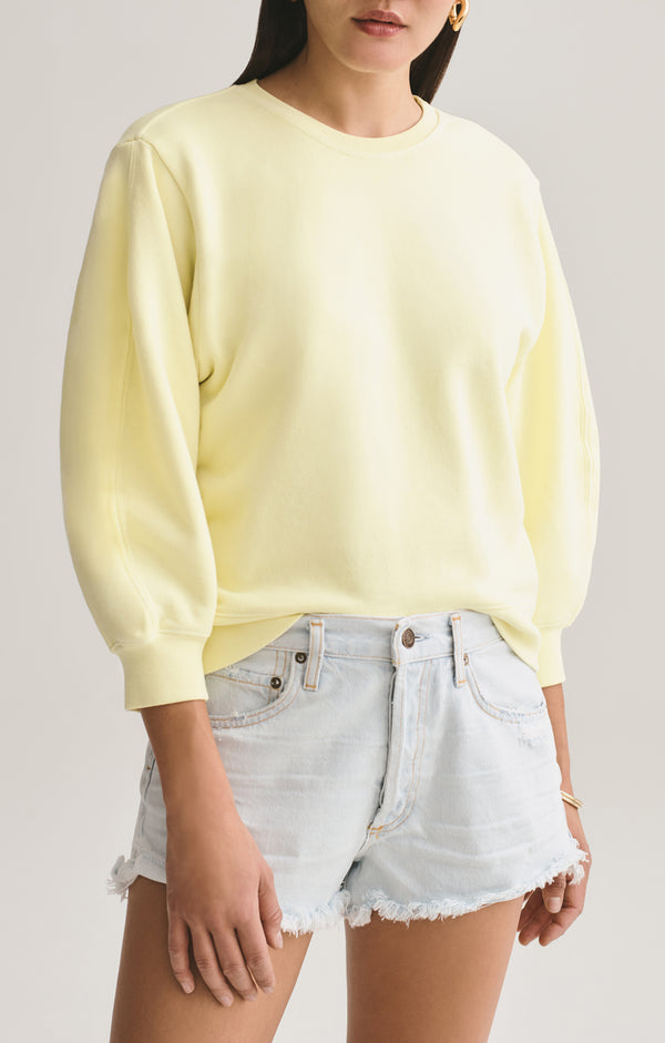 Thora 3/4 Sleeve Sweatshirt in Limoncello