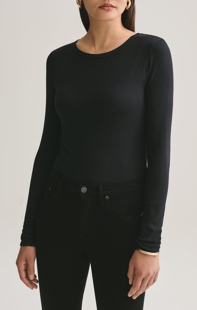 leila long sleeve body suit black front