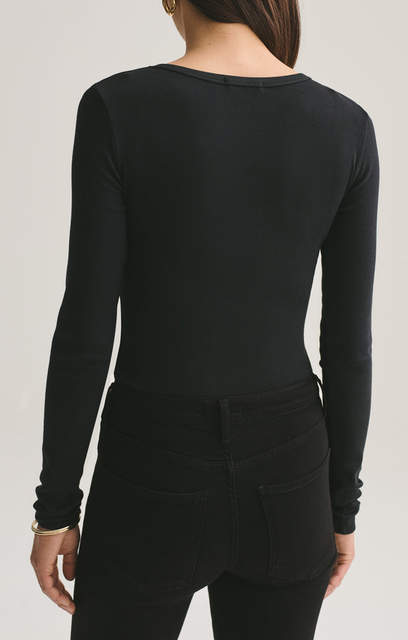 leila long sleeve body suit black back
