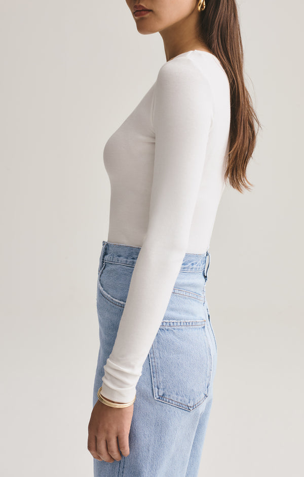 leila long sleeve body suit white side