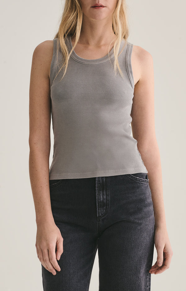 Poppy Scoop Neck Tank Zinc front