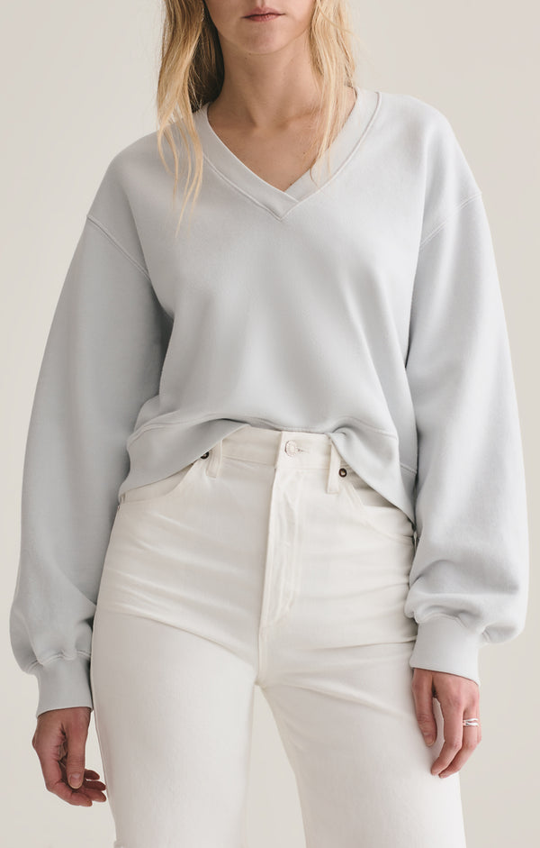 v neck balloon sleeve sweatshirt cascade front