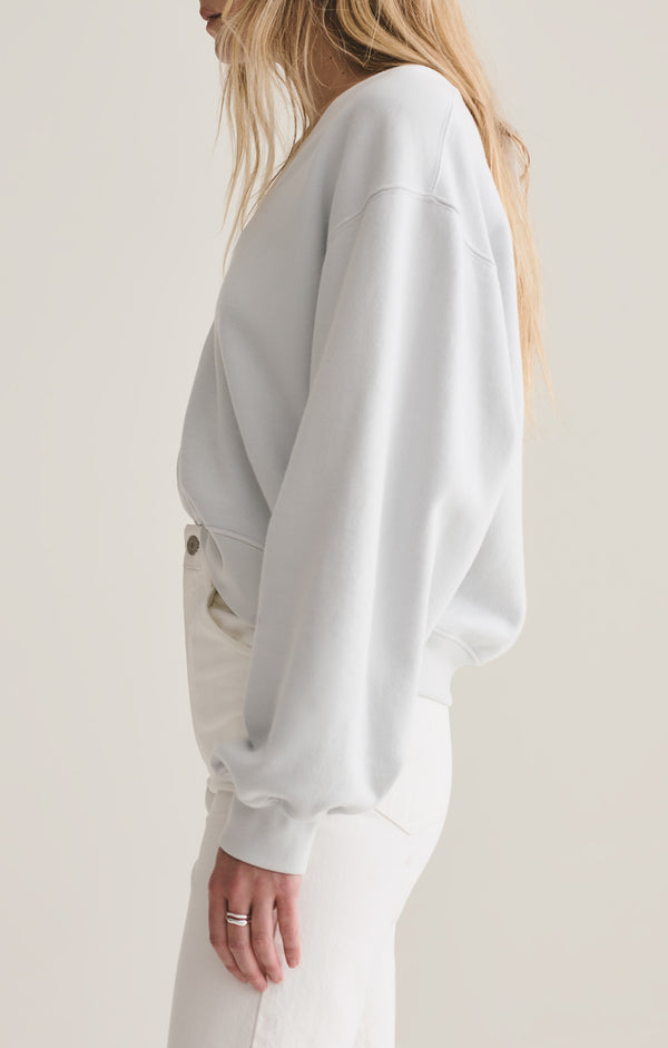 v neck balloon sleeve sweatshirt cascade side