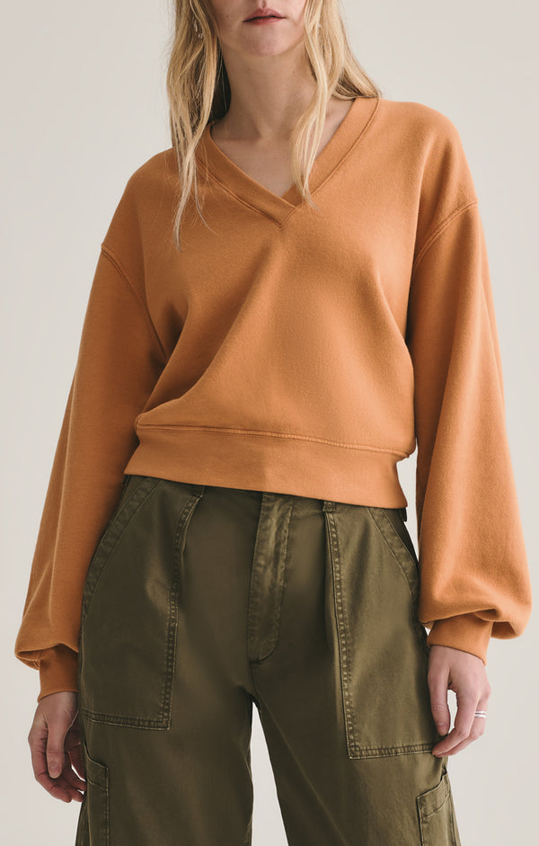 V neck balloon sleeve sweatshirt umber front