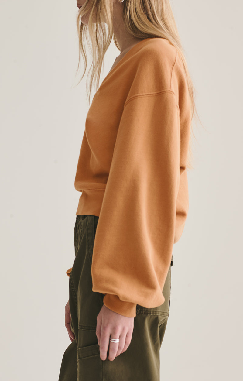 V neck balloon sleeve sweatshirt umber side