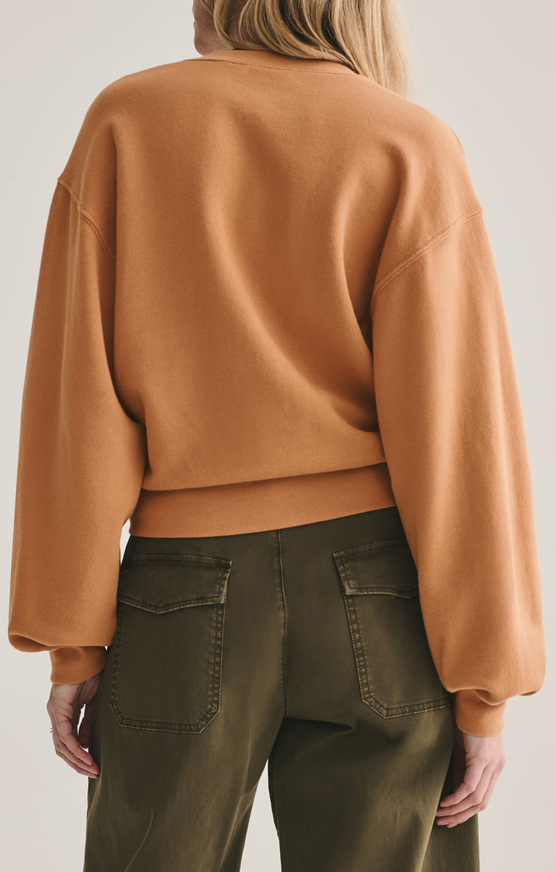 V neck balloon sleeve sweatshirt umber back