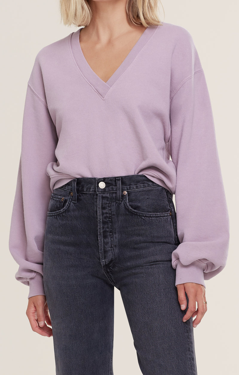 V Neck Balloon Sleeve Sweatshirt  Taro front