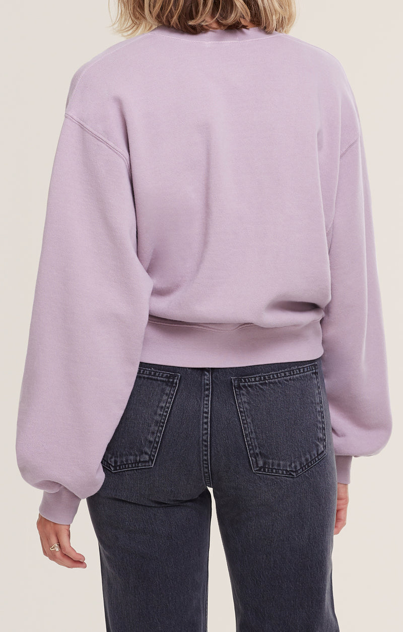 V Neck Balloon Sleeve Sweatshirt Taro back