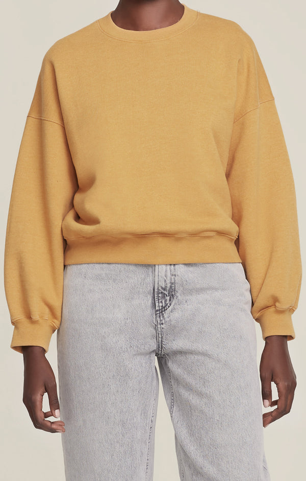 Balloon Sleeve Sweatshirt Turmeric Heather front