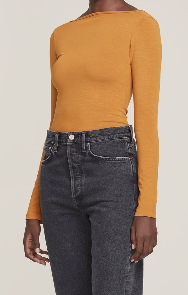 Sylvie Square Back Body Suit Turmeric front