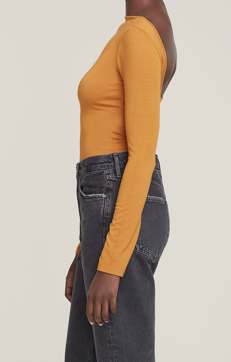 Sylvie Square Back Body Suit Turmeric side