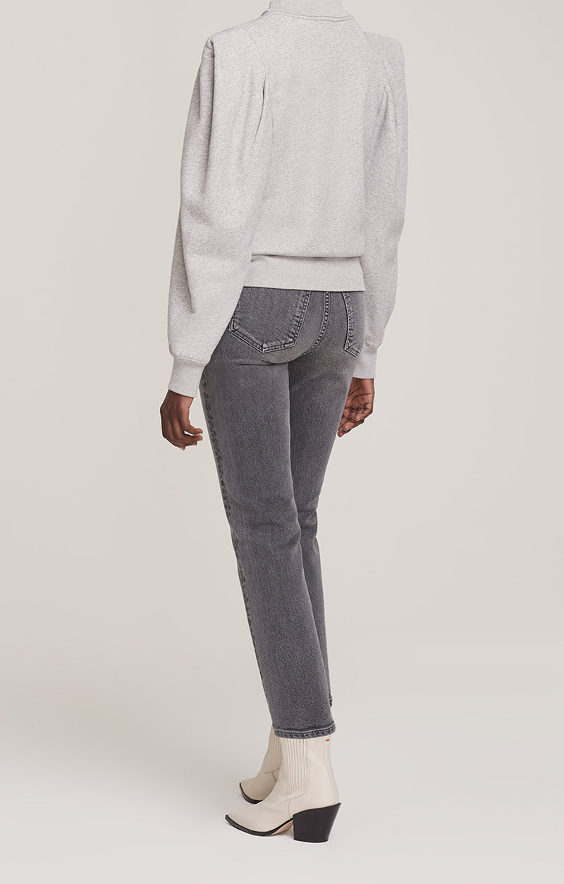 Folded Sleeve Sweatshirt Grey Heather side