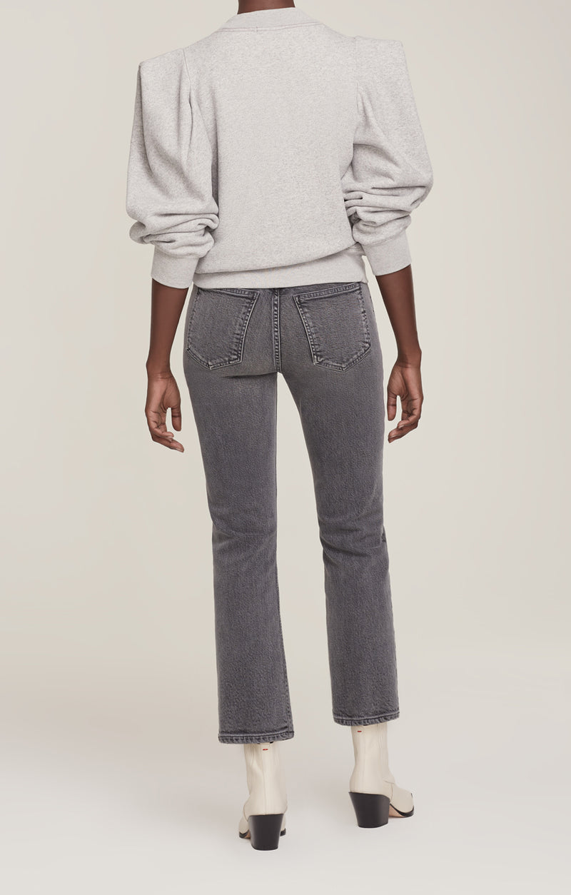 Folded Sleeve Sweatshirt Grey Heather back