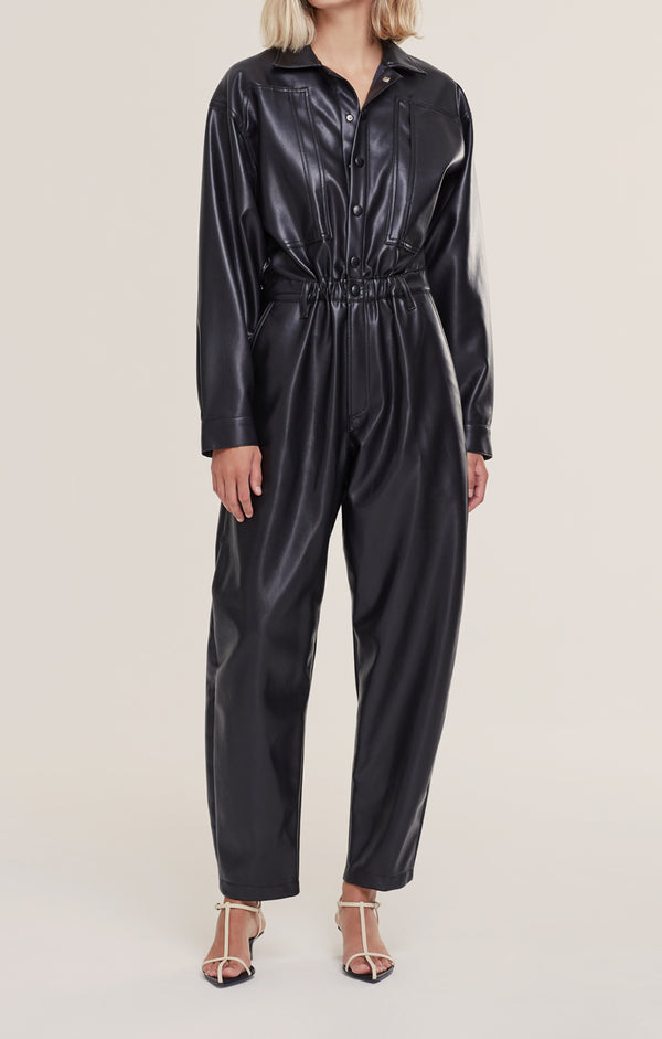 Vegan Leather 80's Jumpsuit Detox front