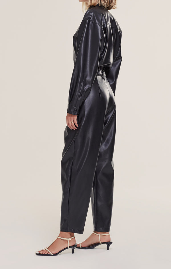 Vegan Leather 80's Jumpsuit in Detox
