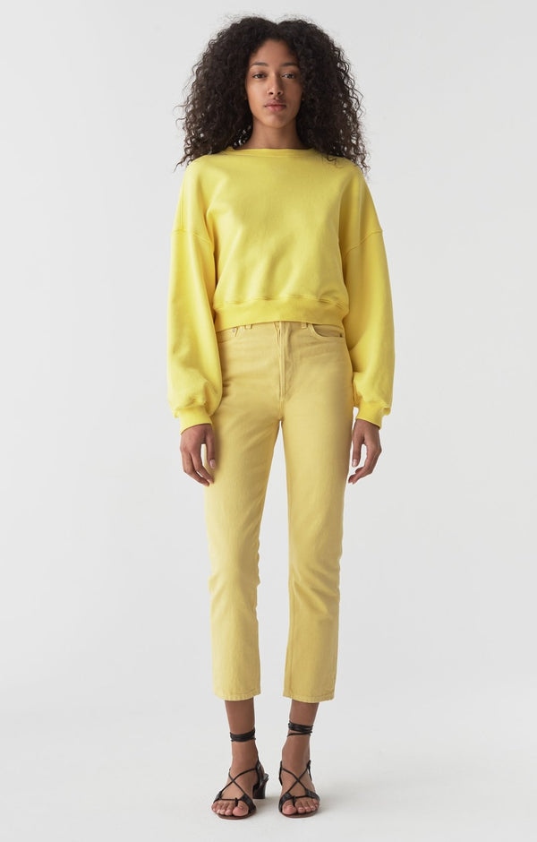 riley high rise straight crop lemon front