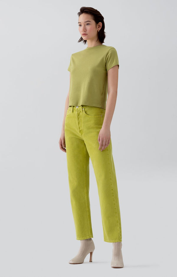 90s mid rise loose fit matcha front