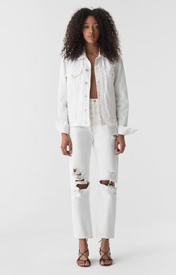 90s mid rise loose fit white out front
