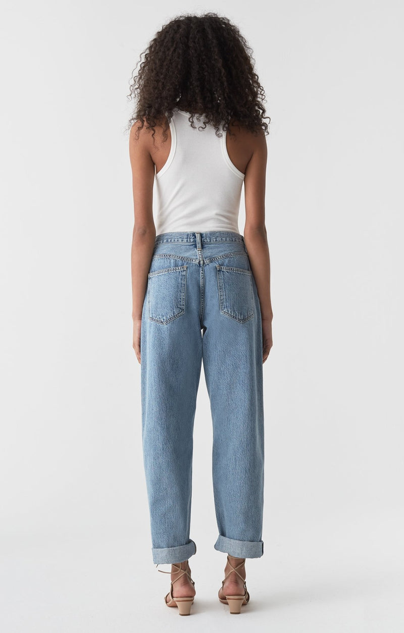 baggy mid rise pleated oversized jean lark side