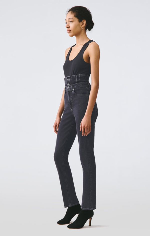 remy high rise straight corset jean orbital back