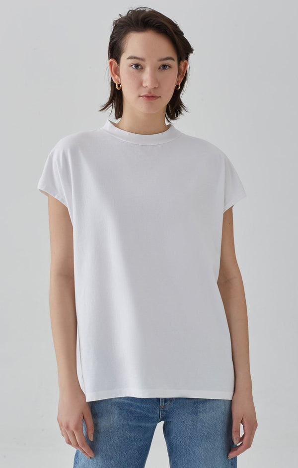 sleeveless oversized boxy tee white front