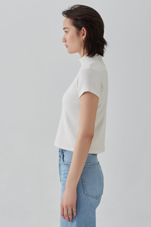 mock neck short sleeve rib tee plaster back