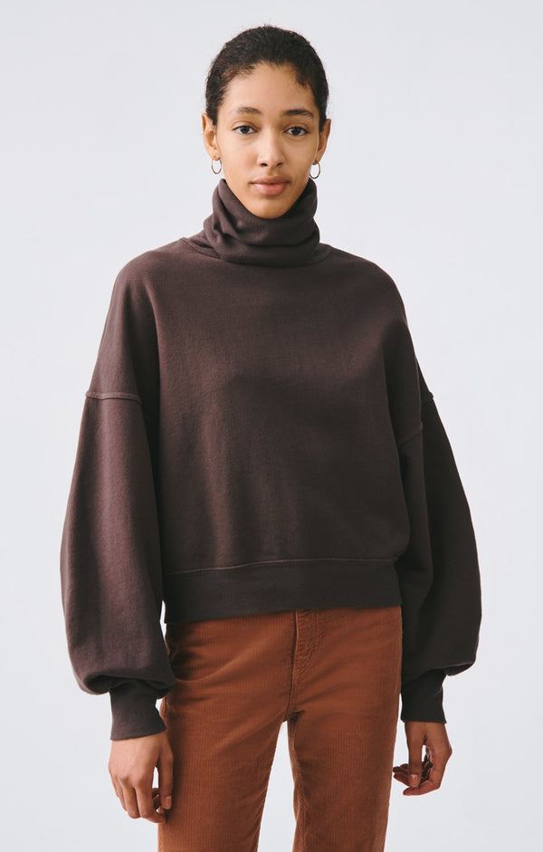 balloon sleeve turtleneck sweatshirt moon drop front
